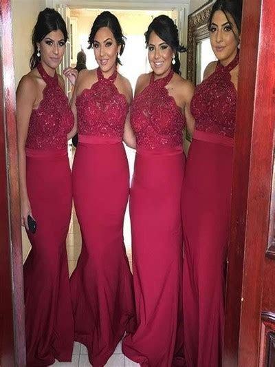 New Arrival Burgundy Lace Bridesmaid Dresses,Halter