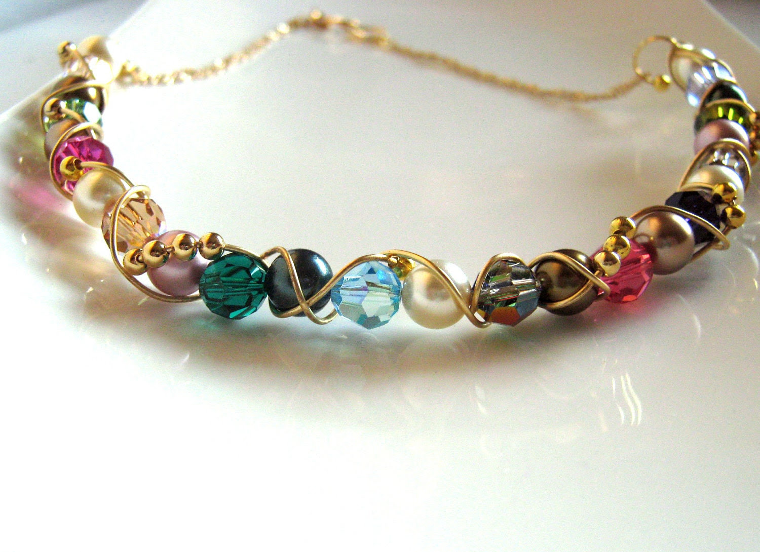 Color Potpourri  Crystal necklace - Swarovski crystal and gold plated choker