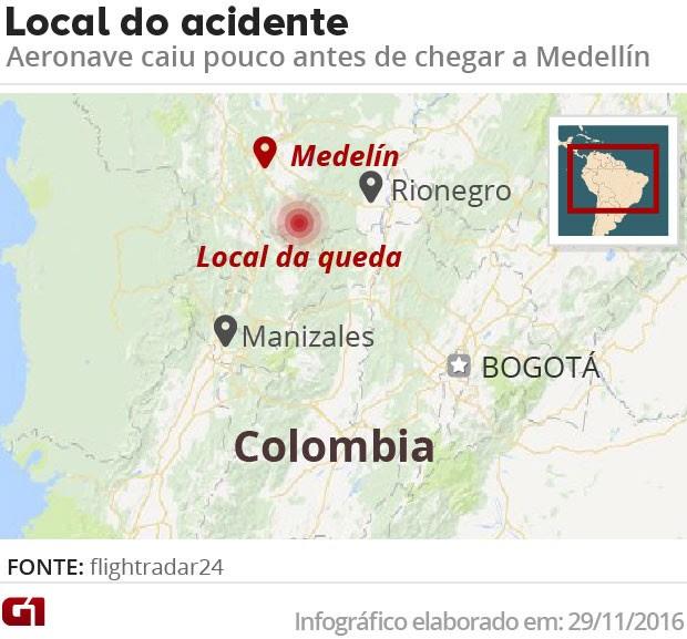 Arte local do acidente com avião que transportava a equipe da Chapecoense. (Foto: Editoria de Arte/G1)