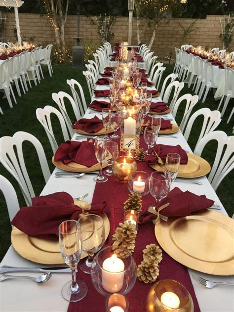 Burgundy Table Runners & Napkins   reception   Gold