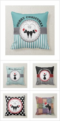 Whimsical funny cat Christmas pillows