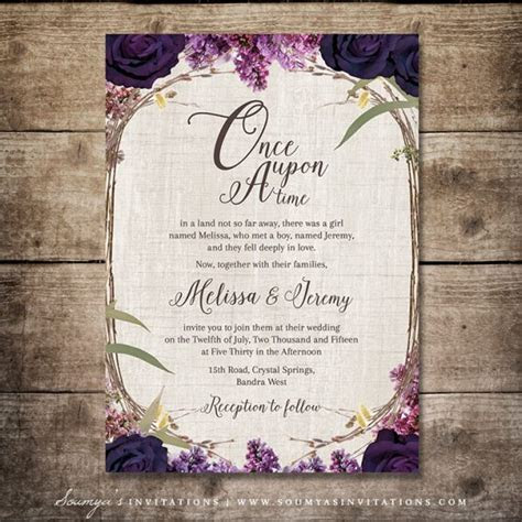 Enchanted Forest Invitation, Purple Wedding Invitation