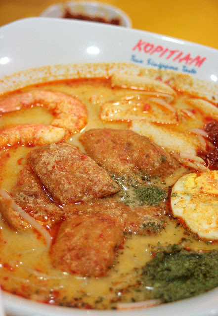 Singapore laksa - they use UHT milk instead of coconut cream, the whole bowl is only 600 calories!