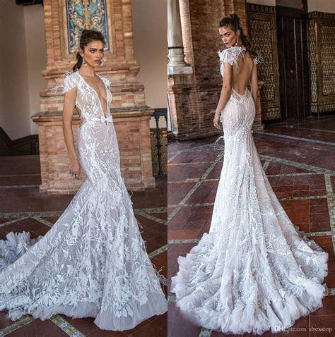 2018 Berta Fall Mermaid Wedding Dresses V Neck Backless