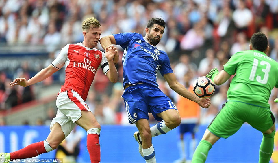 Rob Holding (left) puts Chelsea hitman Diego Costa under pressure as the Spain international attempts a shot on goal