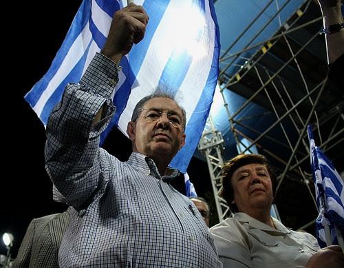 Party faithful listen to speech by Conservative leader, Antonis Samaras at election rally - Thessaloniki, Greece