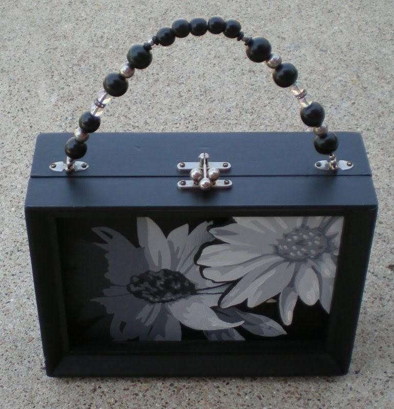 Twilight Daisies Art Purse OOAK by Kris Jean EBSQ TEAM black and white