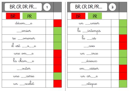 cartes multi choix CR/TR/PR/BR .... et M devant M, B, P