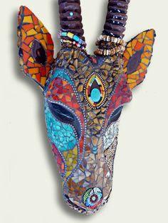 Mosaic art animal heads www.riotofcoloursmosaic.com