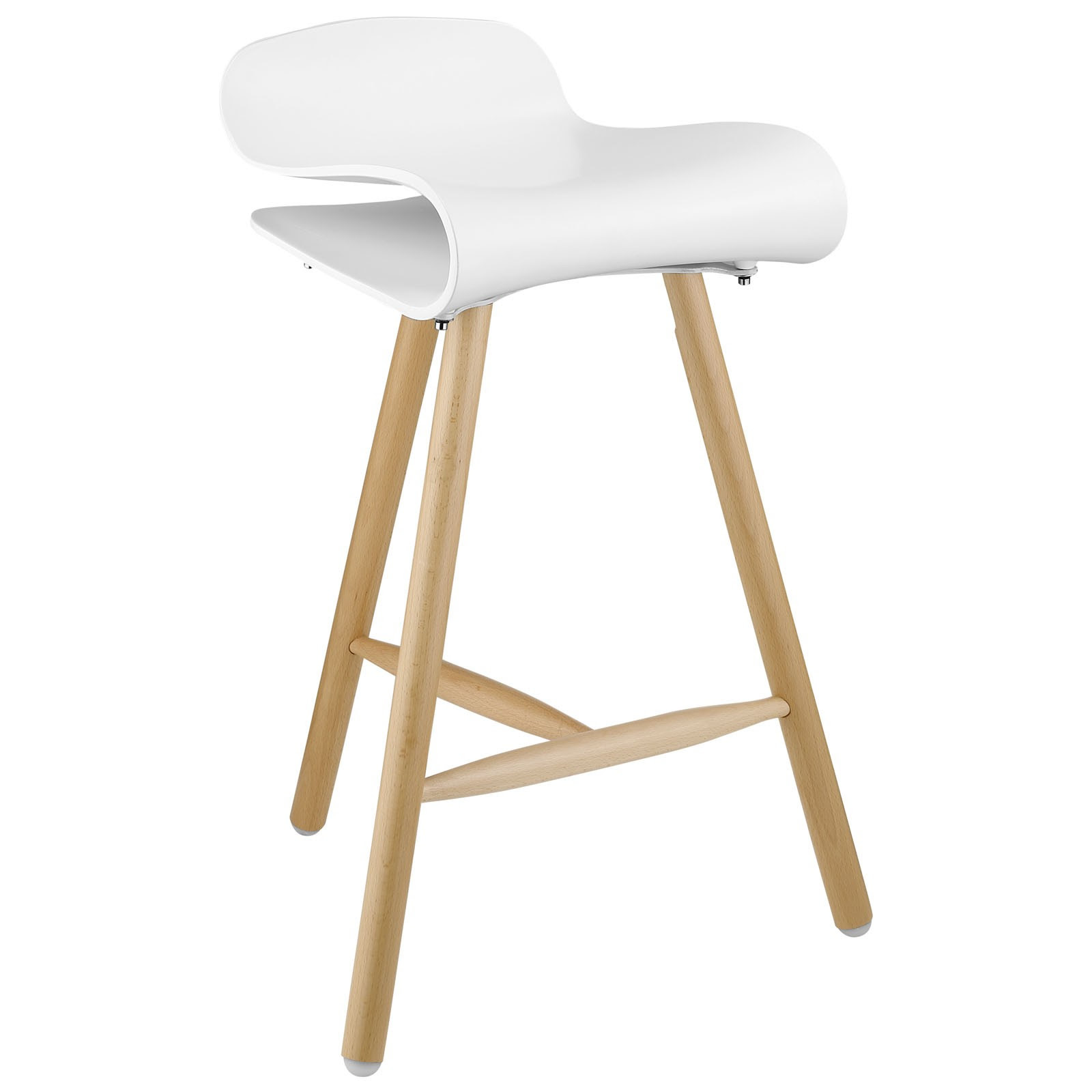 calvin white wood bar stools in modern design with wooden leg and curved seating for kitchen furniture ideas