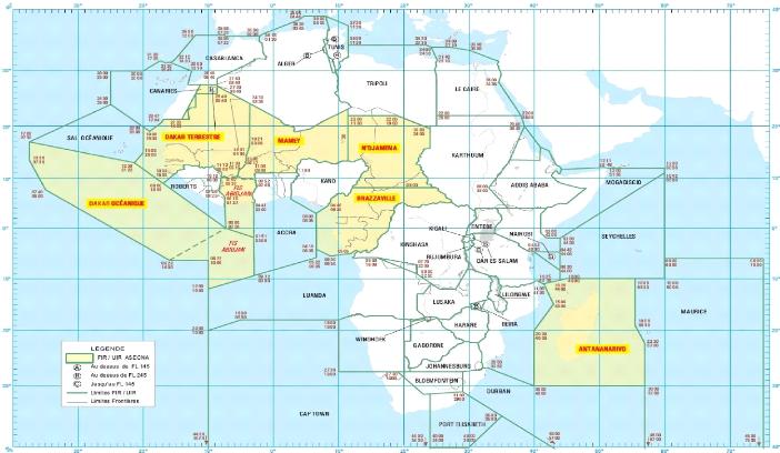 ASECNA's 6 Flight Information Regions