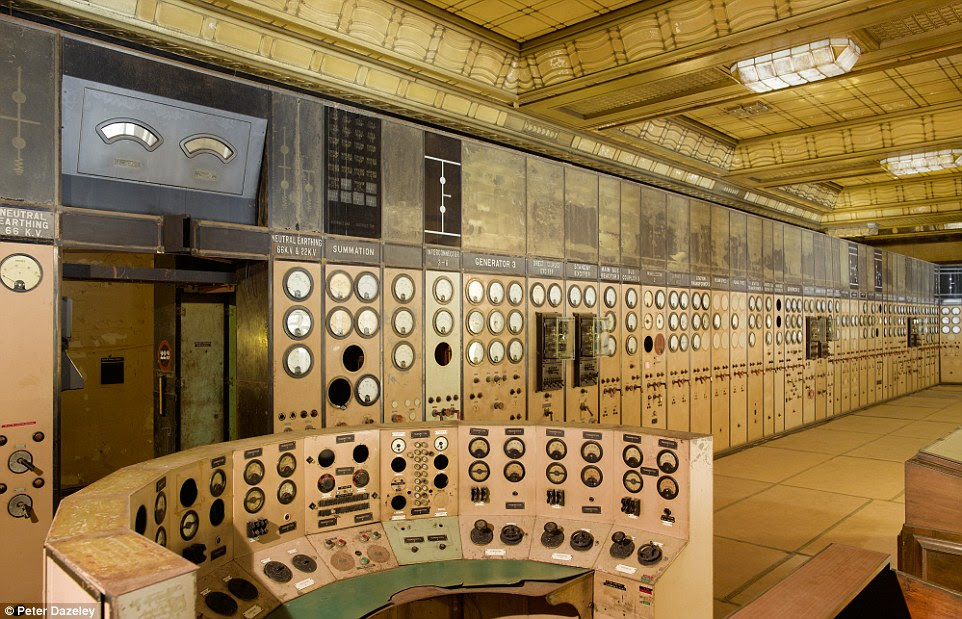 Control Room A: Battersea Power Station's control desk, marble walls, elaborate ceiling and wooden floor. Some instrumentation is housed in wall-mounted displays
