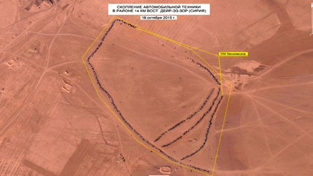This photo, made from video taken from the Russian Defense Ministry web site, is an aerial image of the area east of ...