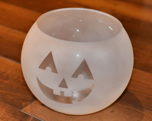 Frosted Painted Glass Jack-O-Lantern