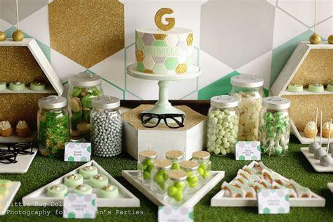 Kara's Party Ideas Geometric Green, Grey and Gold Birthday