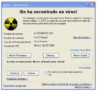 Virus detectado por el programa Avast antivirus