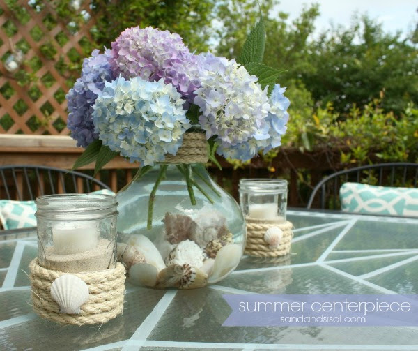 Simple Summer Centerpiece + Sisal Votives