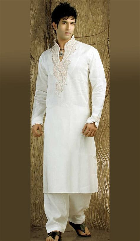 Off White Linen Kurta Pajama with Nice Embroidery   men