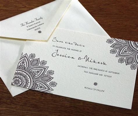 A simple save the date card for this Indian inspired