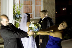 Little did the bride know, a power struggle erupted just after the ceremony