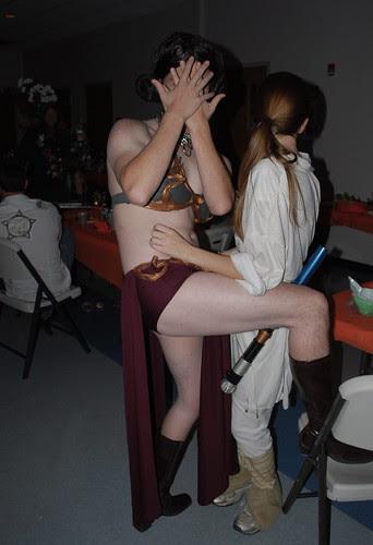 Princess Leia and Luke Skywalker pose for the blog