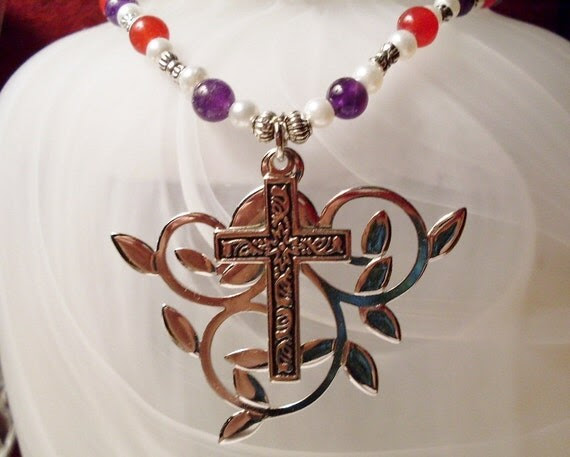 Cross and Vine Pendant Necklace with Pearls, Carnelian and Amethyst