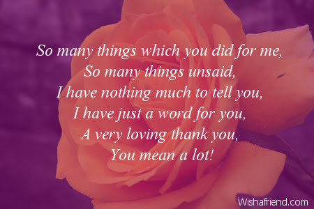 So Many Things Which You Did Thank You Message