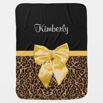 Stylish Leopard Print Elegant Yellow Bow and Name Swaddle Blanket