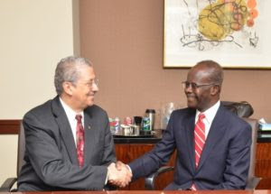 Outgoing CEO Norman Williams, left, with new chairman Paa Kwesi Nduom. Image courtesy of ChicagoBusiness.com