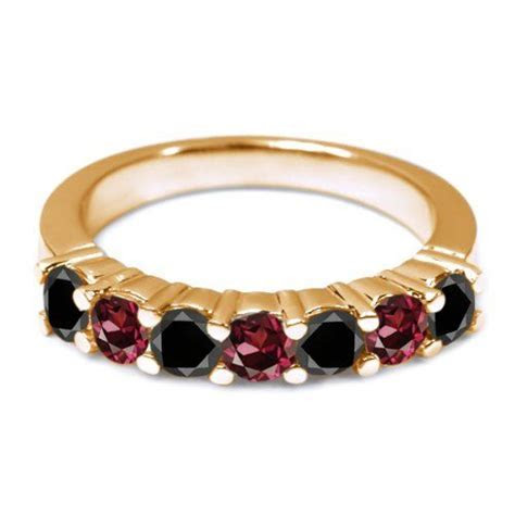 1.34 Ct Black Diamond Red Rhodolite Garnet 14K Yellow Gold