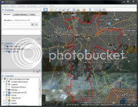 A camada sendo carregada no Google Earth