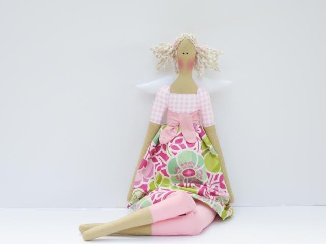 Angel doll fabric doll pink green flower cloth doll blonde rag doll art doll cute stuffed doll softie plush nursery decor doll - HappyDollsByLesya