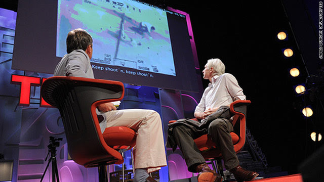 Julian Assange, right, talks about submissions to WikiLeaks.org  with Chris Anderson at Friday's TED Global conference.