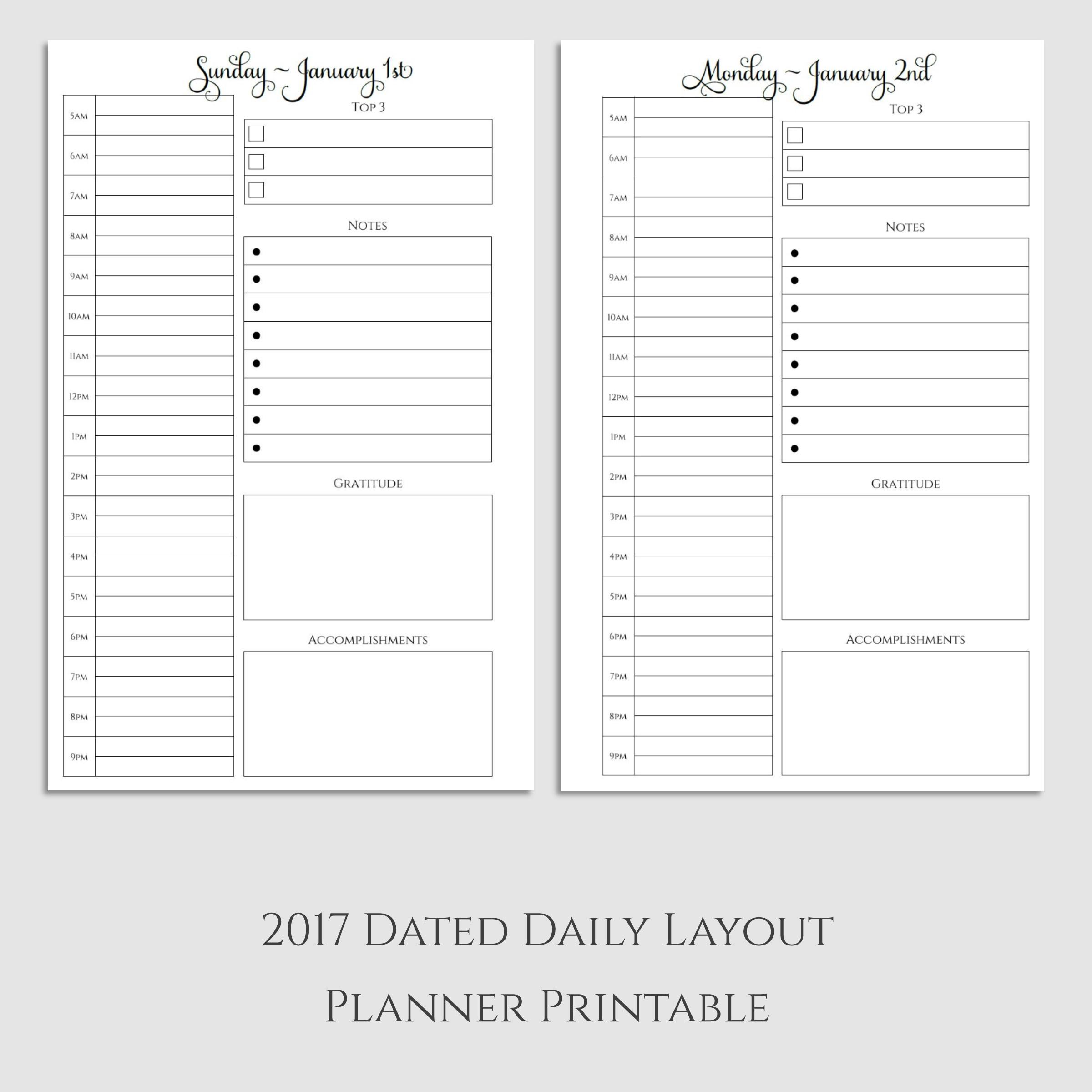 2017 Daily Planner Printable with Gratitude & Accomplishments ...
