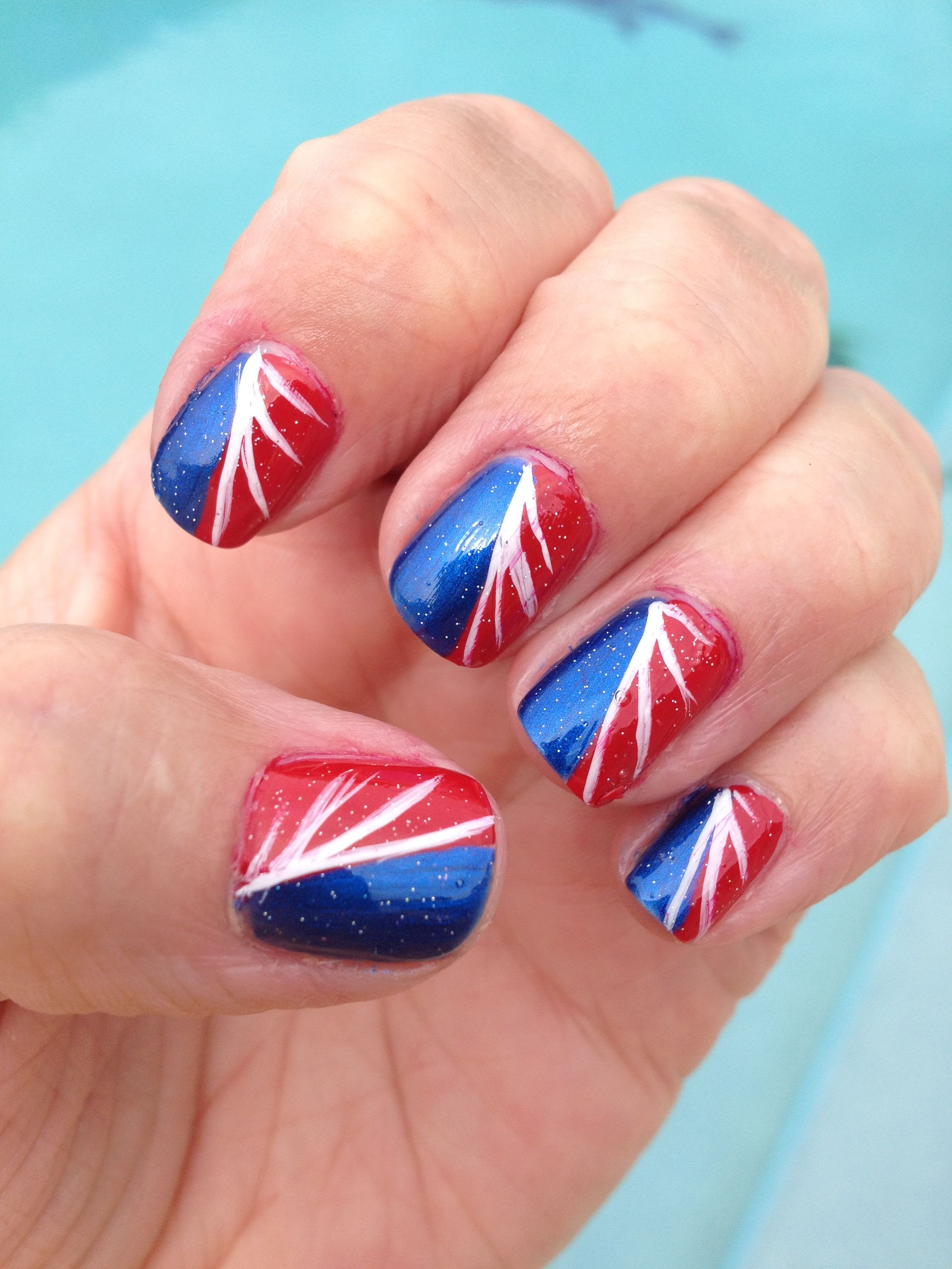 Easy nail designs 4th of July nails!   Cu-ute   Pinterest