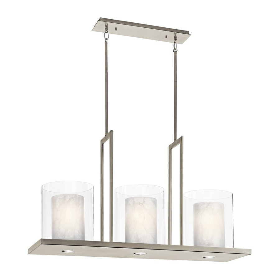 Shop Kichler Lighting Triad 40in W 3Light Classic Pewter Kitchen Island Light with Tinted