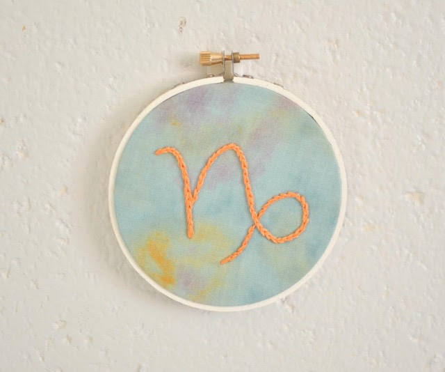Capricorn Astrology Embroidery Ornament Home Decor Wall Art