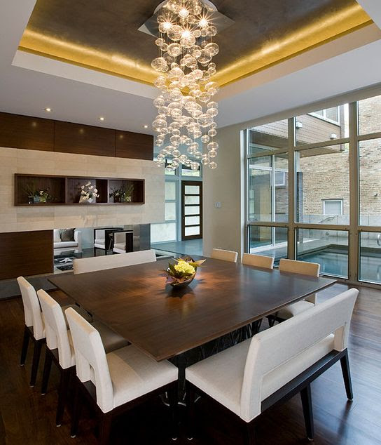 light fixture : square table : seating : tray ceiling : natural light