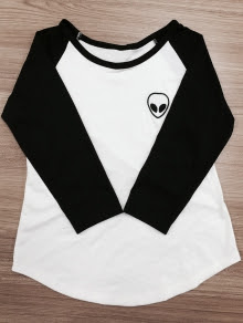 Raglan Sleeve Skull Print Color Block T-Shirt