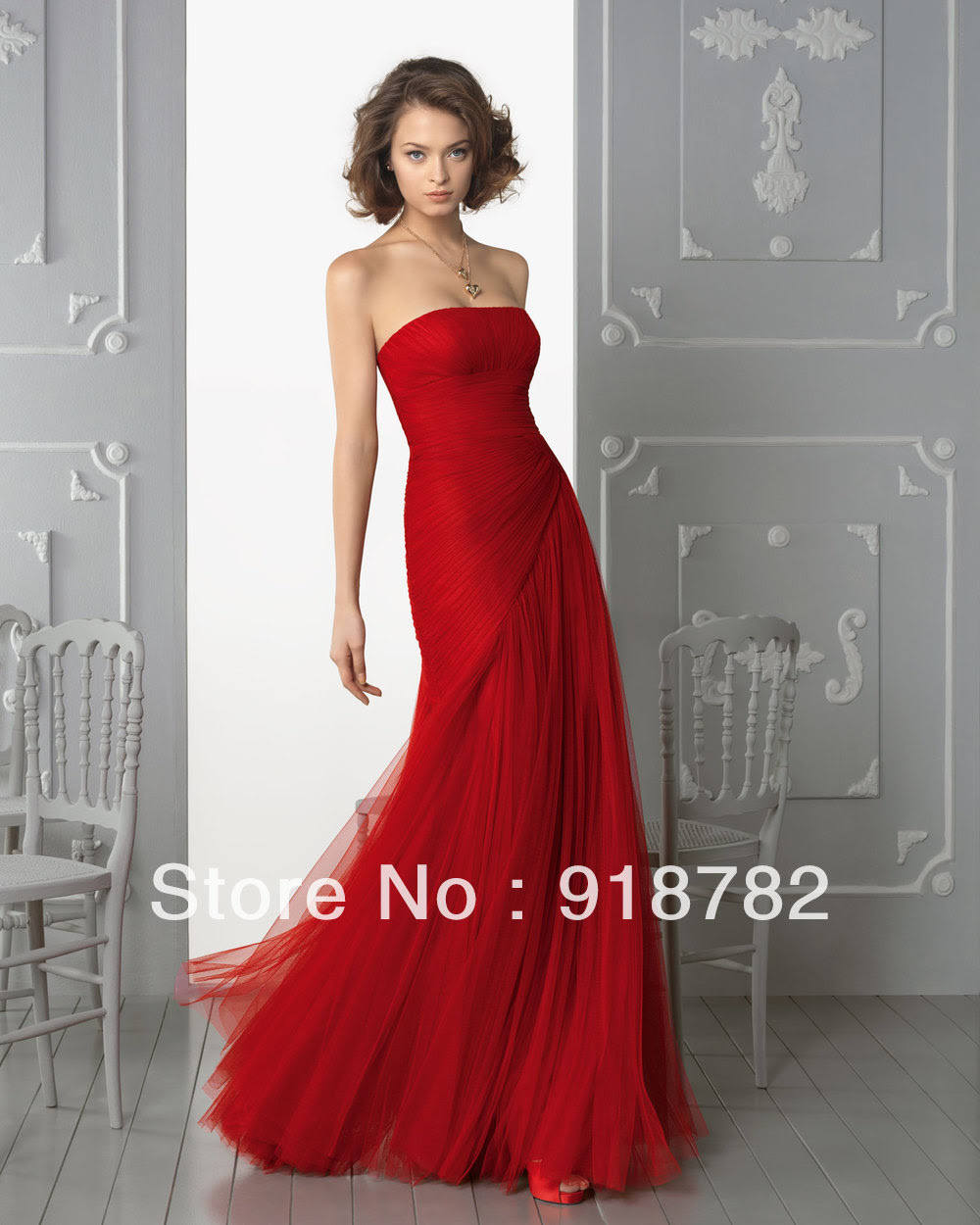 Red dress evening wear