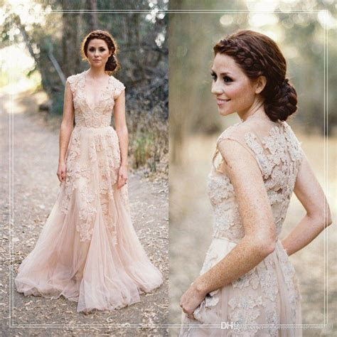 Discount Champagne Lace Country Wedding Dresses 2017 V