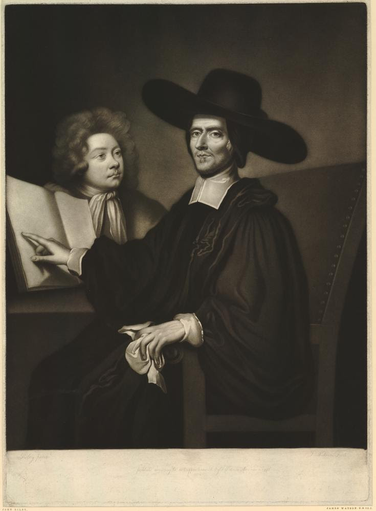 Portrait seated TQL to l with r hand on open book, held by pupil at l, eyes to front, l hand holding handkerchief and resting on arm of chair; wearing bands, black robe and wide, black hat; proof before letters, with some scratched inscription.  1 November 1775  Mezzotint