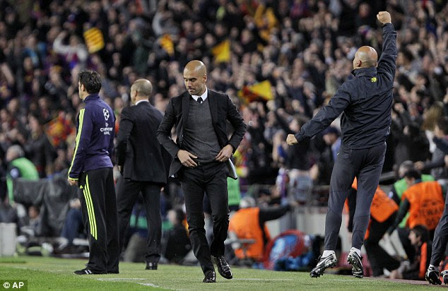 Flashpoint: The players lost their composure briefly in the second-half after the the Barca bench celebrate the opener (below)