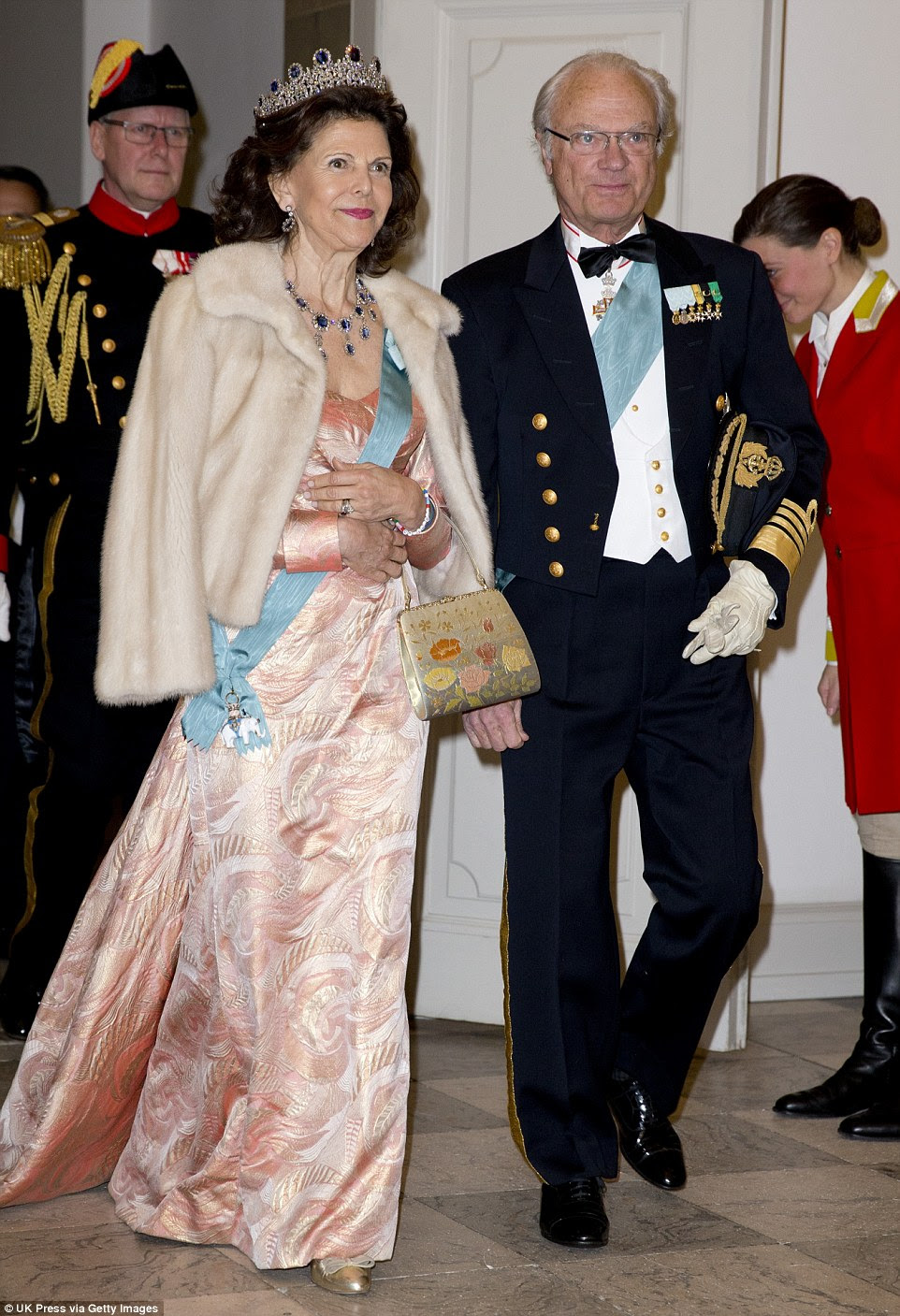 Looking good: Sweden's King Carl XVI Gustaf and his wife, Queen Silvia arrive for the gala dinner