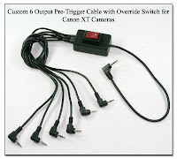 PT1019: Custom 6 Oupput Pre-Trigger Cable with Override Switch Hardwired for Canon XT Cameras