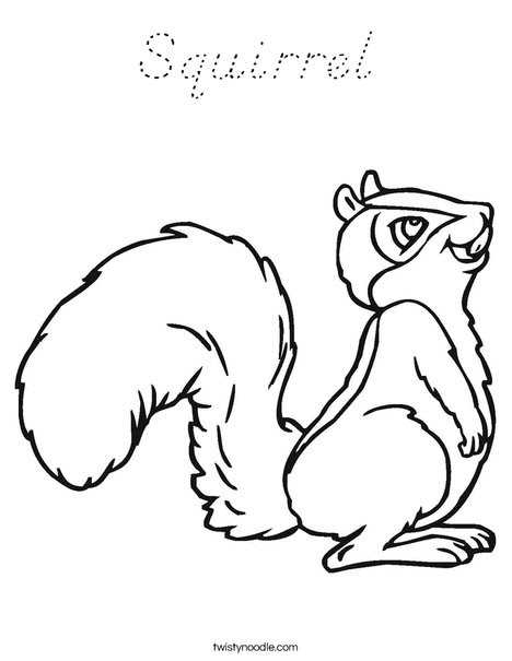 Squirrel Coloring Page - D'Nealian - Twisty Noodle