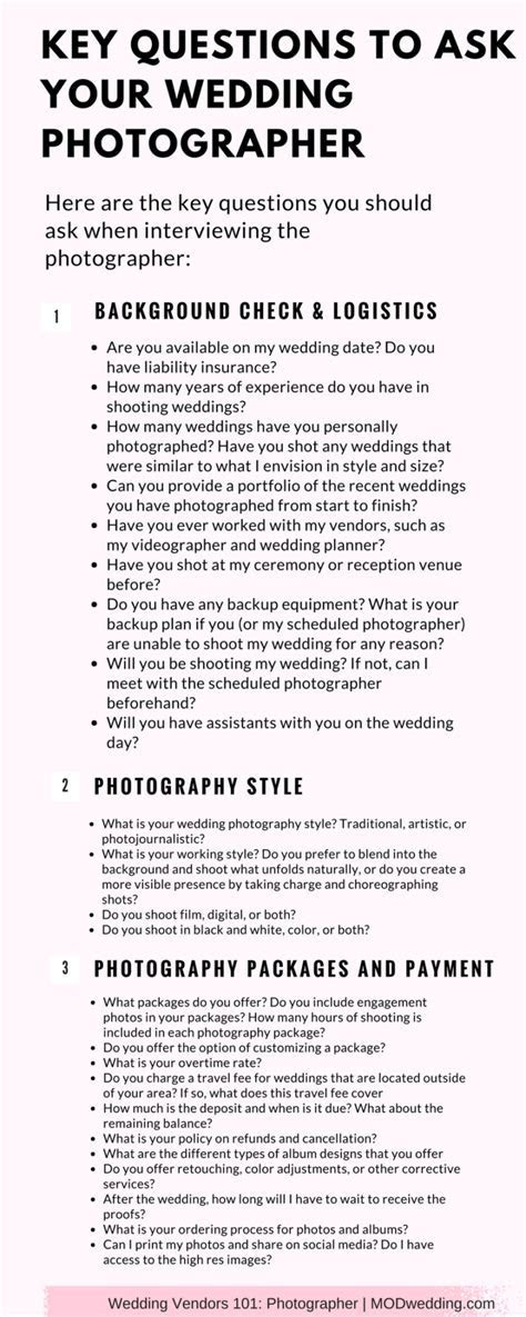 Key Questions to Ask Your Wedding Photographer Before You
