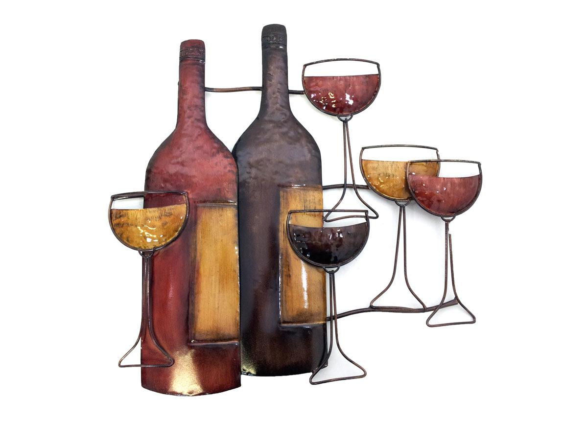 Metal Wall Art Brown Wine Bottle Scene