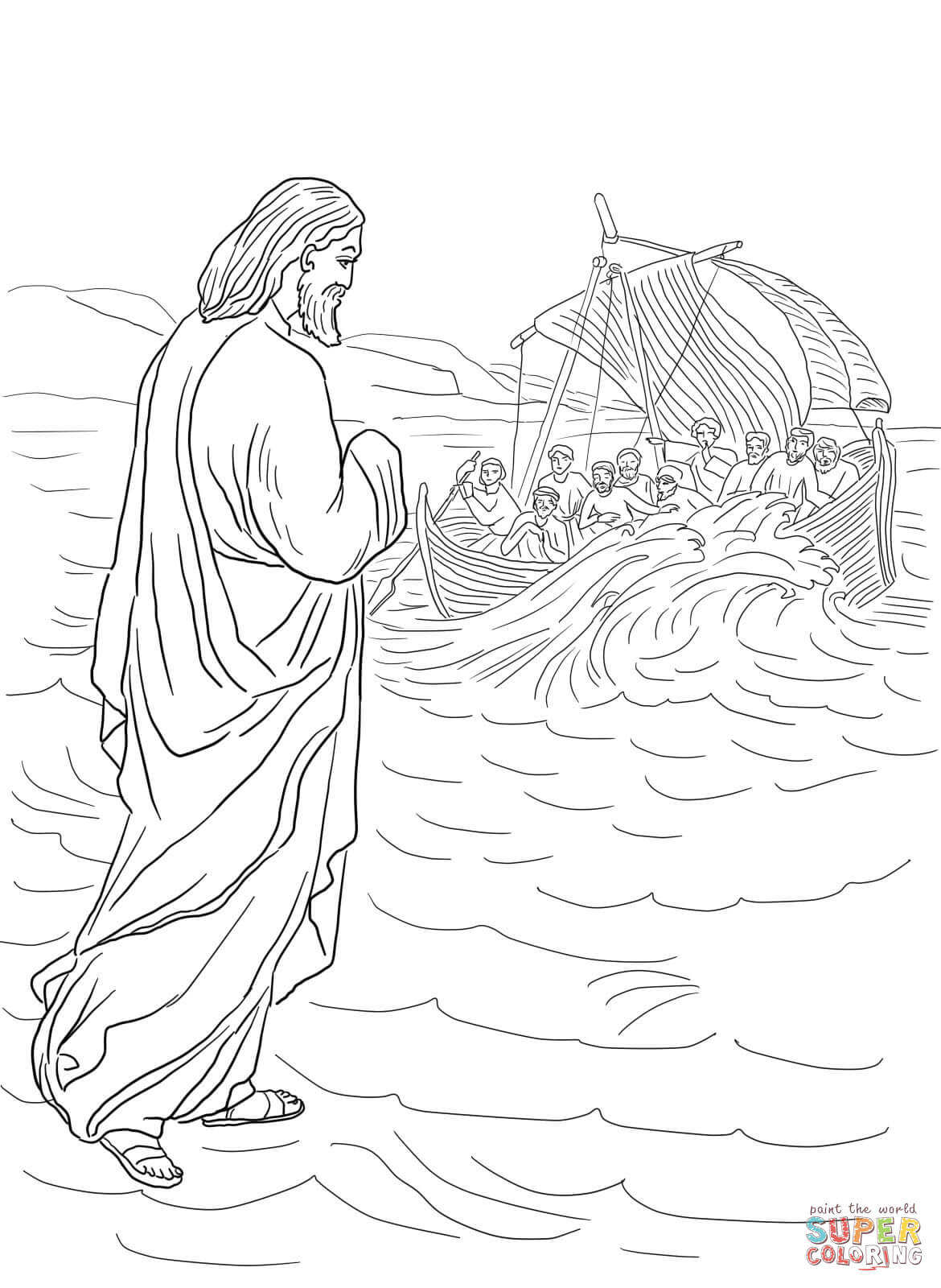 Jesus Walking On The Water Coloring Page Free Printable Coloring Pages