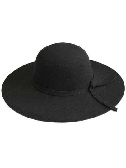 Black Wide-Brim Wool Boater Hat pictures